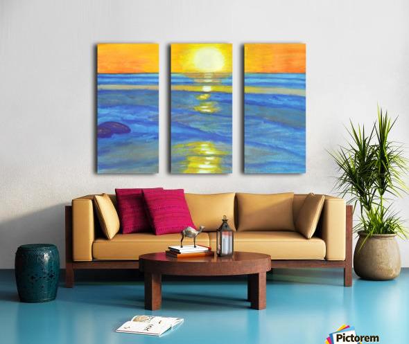 Sunset and ocean waves Split Canvas print