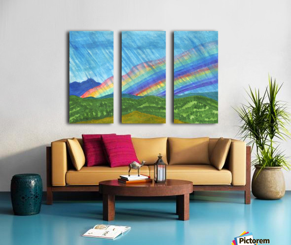 Double rainbow and rain in the mountains Split Canvas print