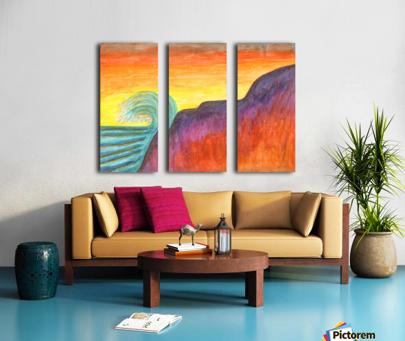 Sea surf at sunset Split Canvas print