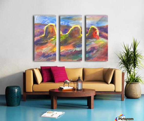Sunny haystacks Split Canvas print