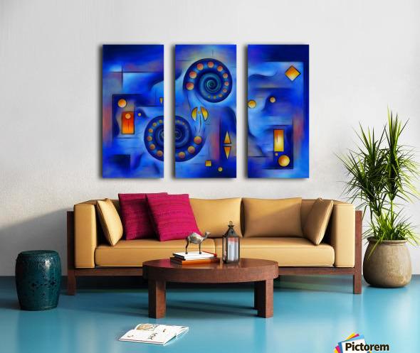 Grefenorium - blue spiral world Split Canvas print