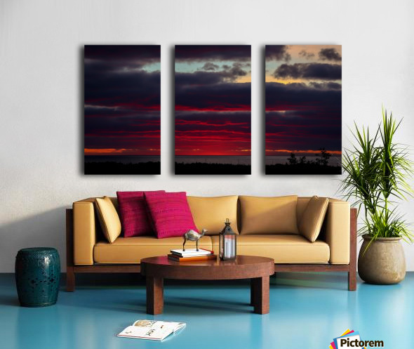 Blood red sunset Split Canvas print