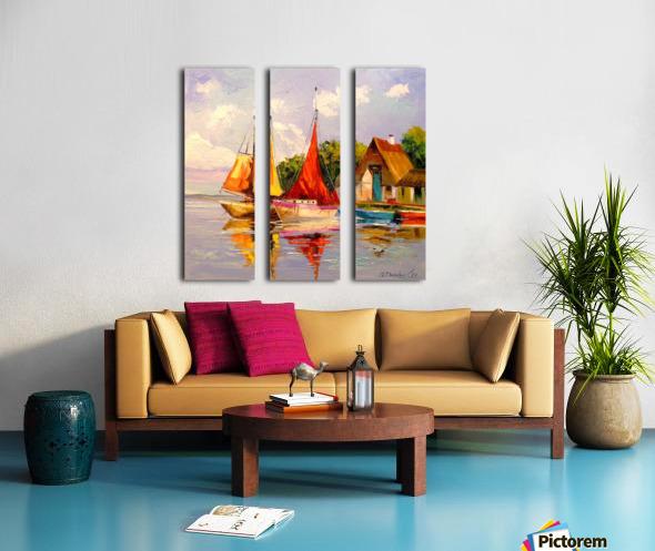 Sailboats near the shore Split Canvas print