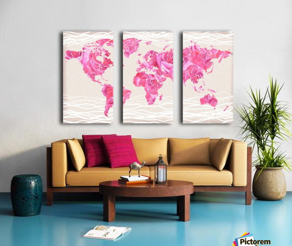 Pink Rose Petals Watercolor Map Of The World Split Canvas print
