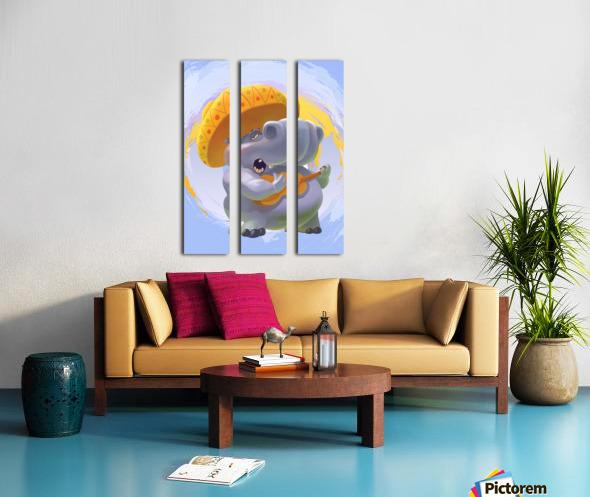 Hippopotamus mariachi Split Canvas print