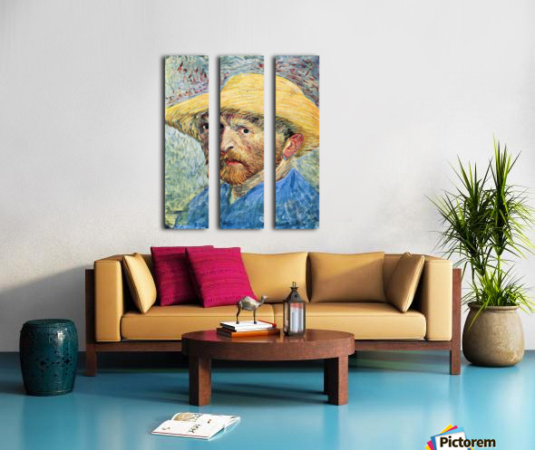 Self-portrait, with straw hat and blue shirt by Van Gogh Split Canvas print