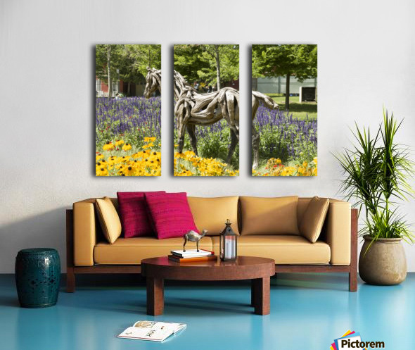 Odyssey the horse and Hope the Colt sculptures made of driftwood by Heather Jansch. 2 Split Canvas print