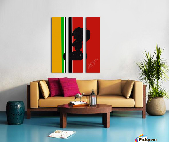 Afrocentric Woman Silhouette- African Flag Split Canvas print