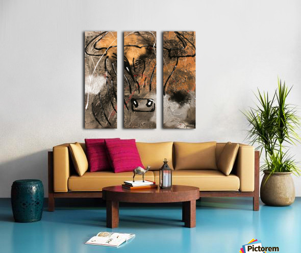 3754    gold bull Split Canvas print