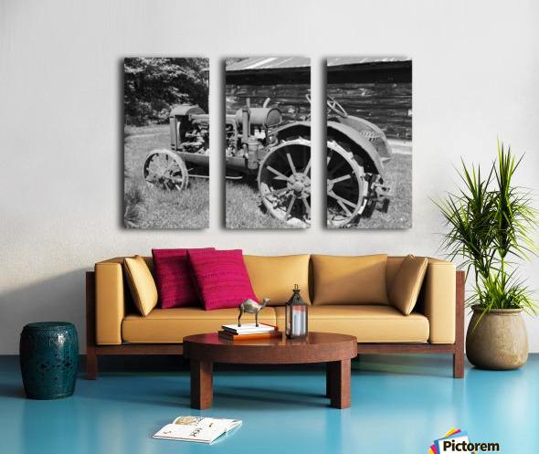 McCormick-Deering gasoline tractor 2 B&W Split Canvas print