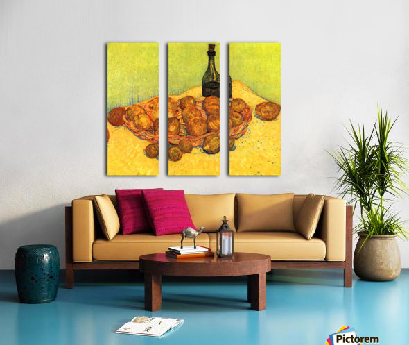 Still Life with Bottle, Lemons and Oranges by Van Gogh Split Canvas print
