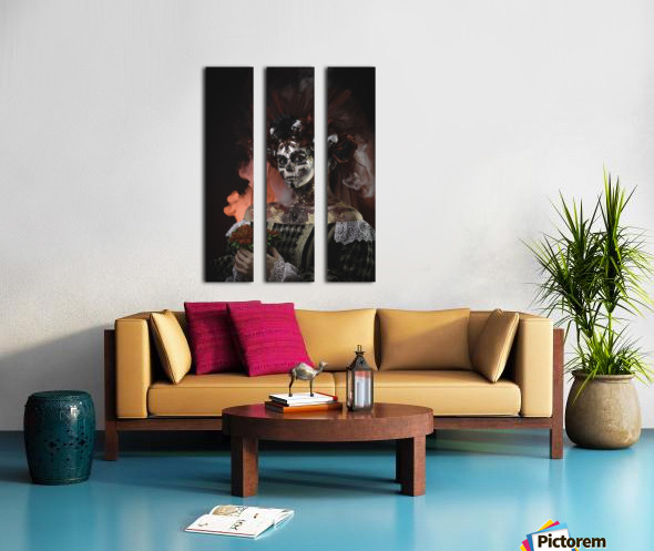 Young girl in the image of Santa Muerte Split Canvas print