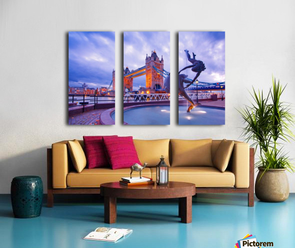 LON 014 Girl with  Dolphin and Tower Bridge Split Canvas print