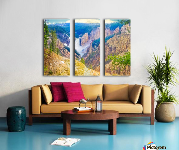 Yellowstone Falls Digital Painting Landscape 52 70 200px Split Canvas print