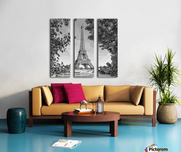 PARIS Eiffel Tower & River Seine   Monochrome Split Canvas print