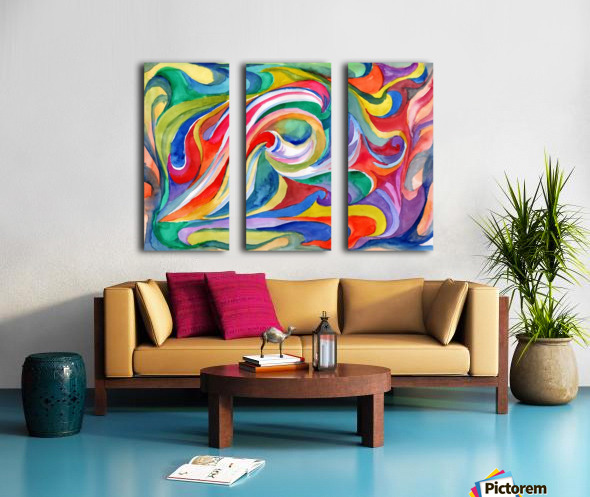 Colorful juicy watercolor Split Canvas print