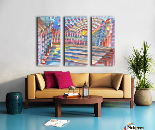 Watercolor geometric abstraction Split Canvas print