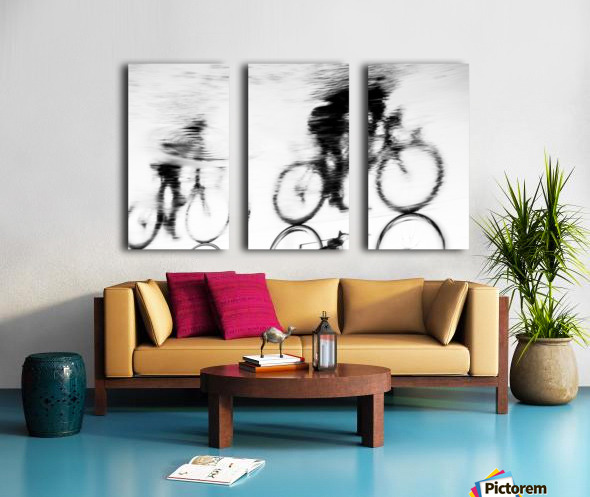 REFLECTED CYCLISTS Split Canvas print