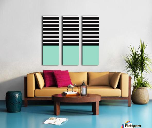 Black & White Stripes with Aquamarine Patch Split Canvas print