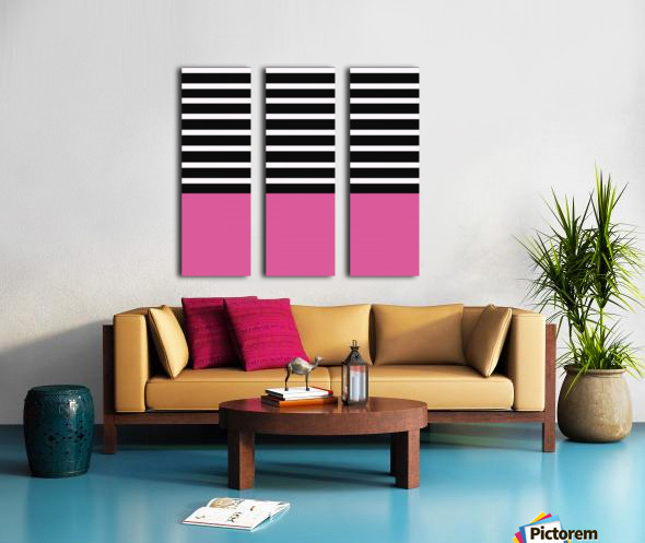 Black & White Stripes with Cranberry Patch Split Canvas print