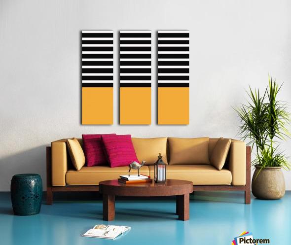 Black & White Stripes with Honey Patch Split Canvas print