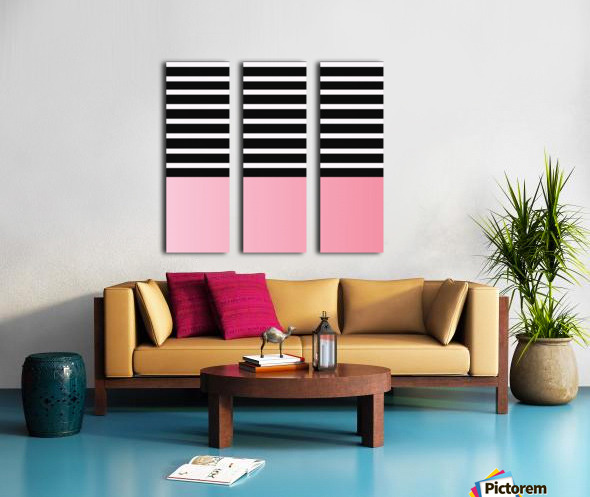 Black & White Stripes with Pink Gradient Patch Split Canvas print
