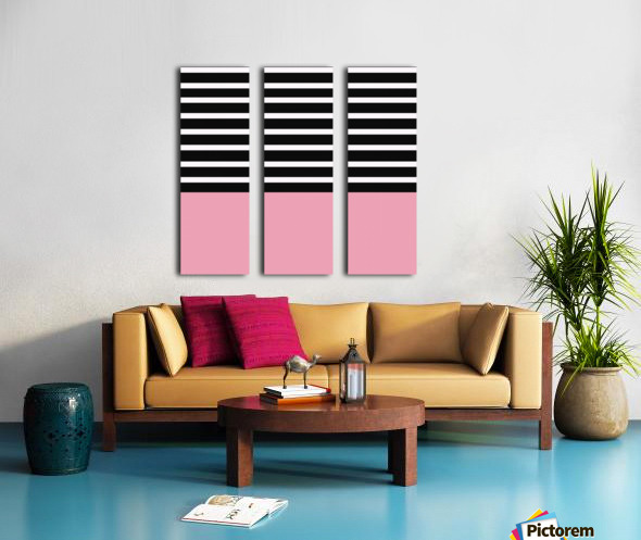 Black & White Stripes with Pacific Rose Patch Split Canvas print