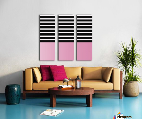 Black & White Stripes with Baby Pink Patch Split Canvas print