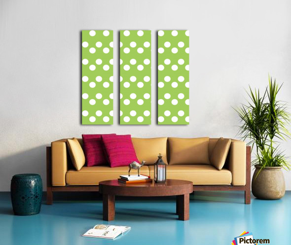 Dark Olive Green Polka Dots Split Canvas print