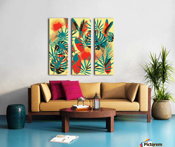 Colorful Abstract Tropical Leaves  Split Canvas print