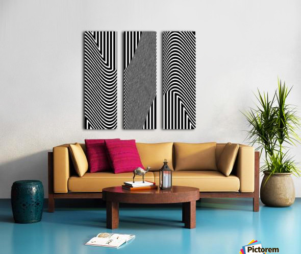 Black and White Abstract Geometric Design 1 Split Canvas print