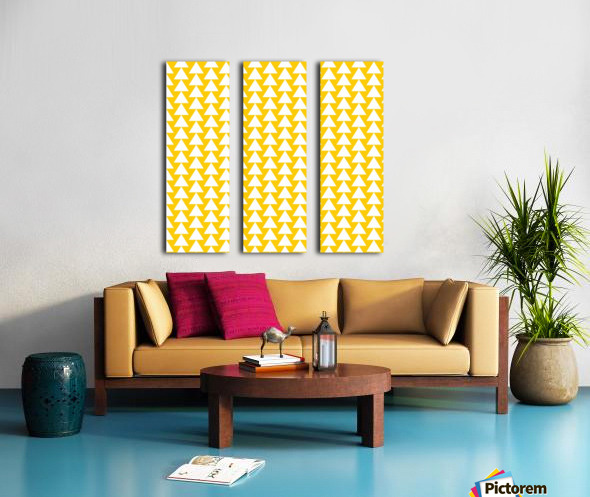 Yellow  White triangle Split Canvas print
