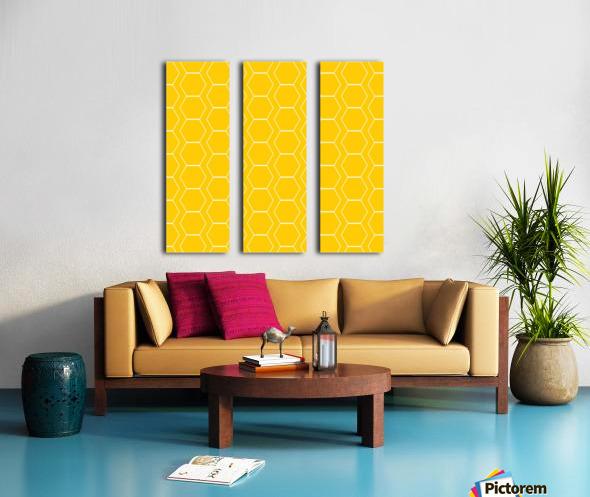 Yellow  White Hexagen Split Canvas print