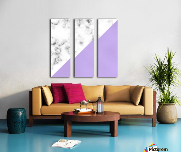 ABSTRACT MODERN PURPLE GLASS MARBLE Split Canvas print