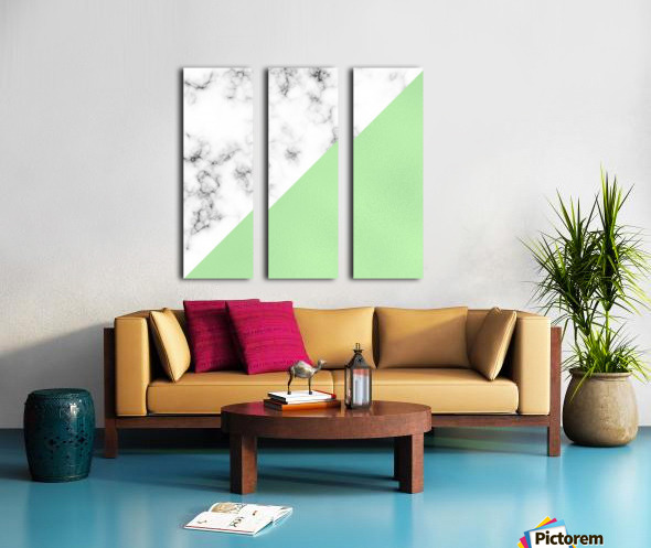 ABSTRACT MODERN GREEN GLASS MARBLE Split Canvas print