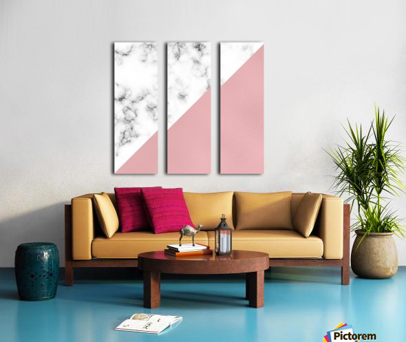 ABSTRACT MODERN ROSE GLASS MARBLE Split Canvas print