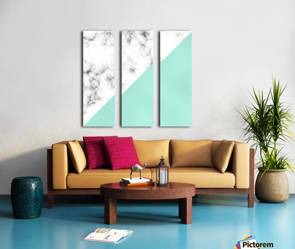 ABSTRACT MODERN TURQUOISE GLASS MARBLE Split Canvas print