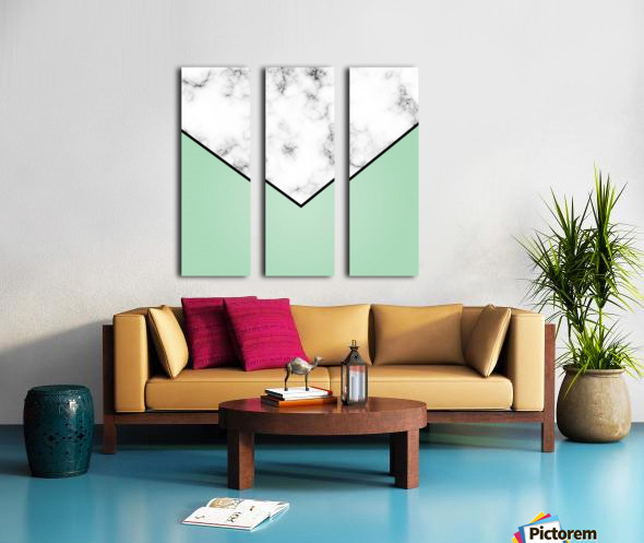 ABSTRACT GREEN PASTEL MODERN MARBLE Split Canvas print