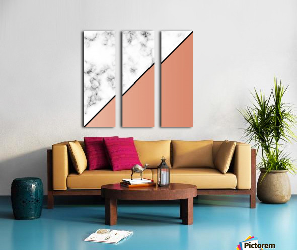 ABSTRACT MODERN ORANGE MARBLE Split Canvas print