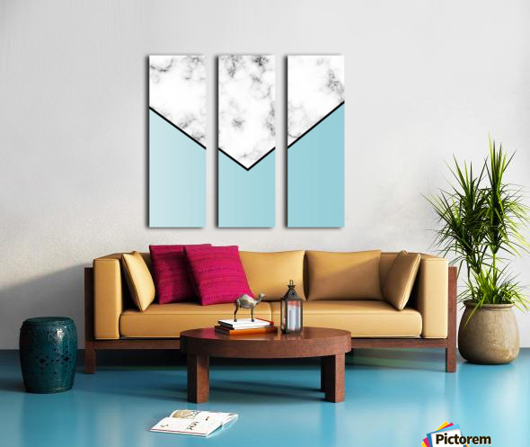 ABSTRACT BLUE TINT MODERN MARBLE Split Canvas print