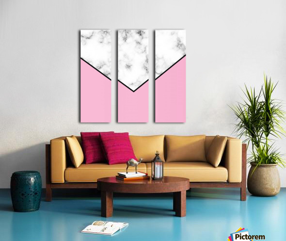 ABSTRACT PINKY MODERN MARBLE Split Canvas print