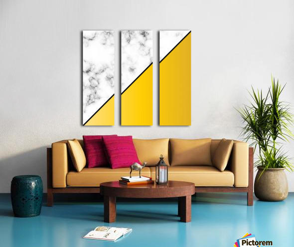 ABSTRACT MODERN YELLOW MARBLE Split Canvas print