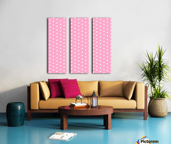 Carnation Pink Heart Shape Pattern Split Canvas print