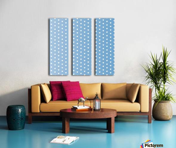 Blue Grey Heart Shape Pattern Split Canvas print