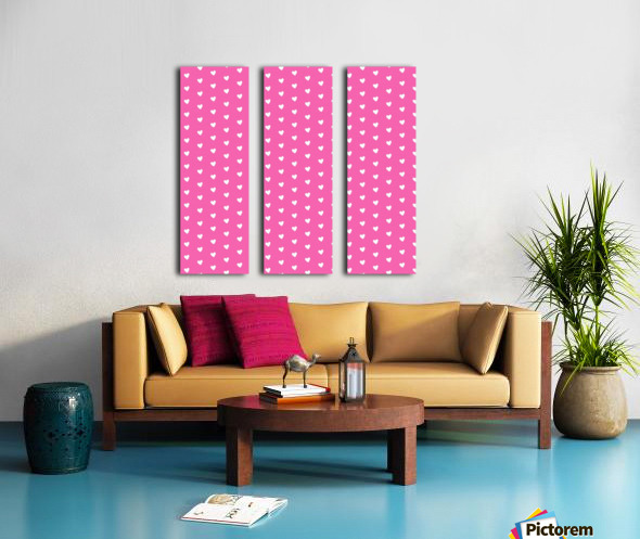 Magenta Heart Shape Pattern Split Canvas print