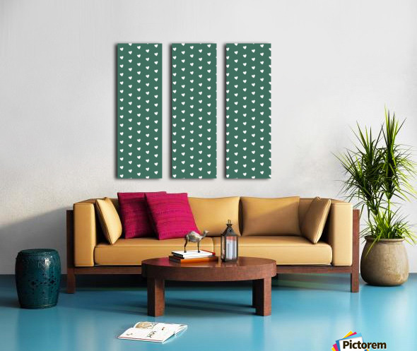 HUNTER GREEN Heart Shape Pattern Split Canvas print