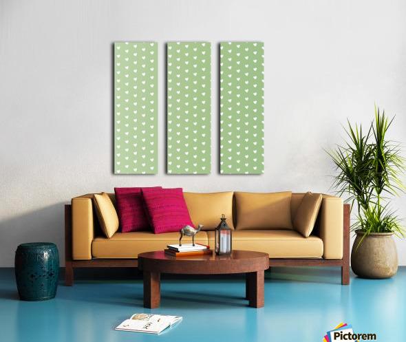 Green Blush Heart Shape Pattern Split Canvas print