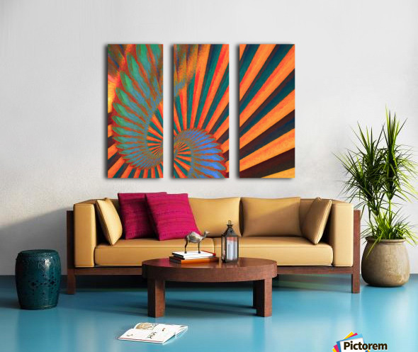 Composition in Orange Blue & Green Split Canvas print