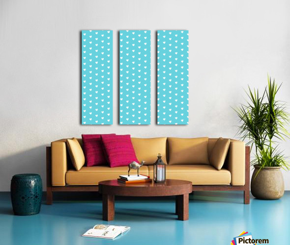 Sweet Light Blue Heart Shape Pattern Split Canvas print