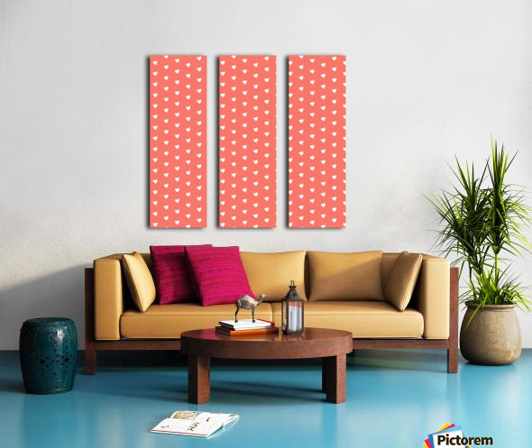 Peach Heart Shape Pattern Split Canvas print